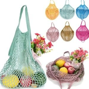 reusable see through bag mesh knit crochet
